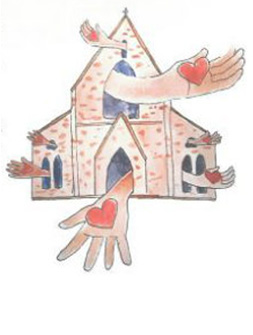 drawing of church with hands and hearts